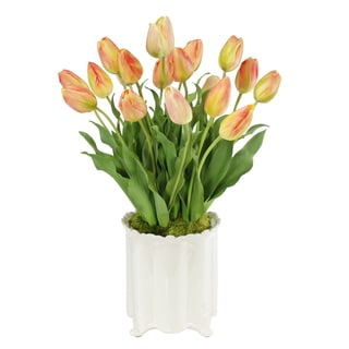 Jane Seymour Botanicals Yellow Orange 24-inch Dutch Tulips in Ceramic Canister Vase