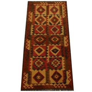 Herat Oriental Afghan Hand-woven Vegetable Dye Wool Kilim (3'3 x 6'7)