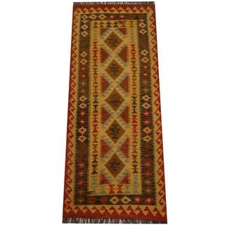 Herat Oriental Afghan Hand-woven Vegetable Dye Wool Kilim Runner (1'9 x 6'9)