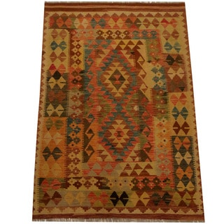 Herat Oriental Afghan Hand-woven Vegetable Dye Wool Kilim (4'3 x 6'2)