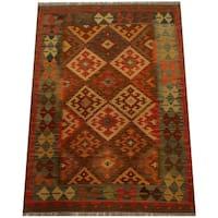 Herat Oriental Afghan Hand-woven Vegetable Dye Wool Kilim - 4' x 5'6