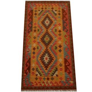 Herat Oriental Afghan Hand-woven Vegetable Dye Wool Kilim (3'4 x 6'5)