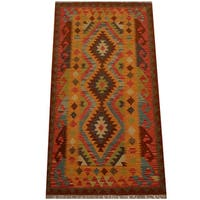 Herat Oriental Afghan Hand-woven Vegetable Dye Wool Kilim (3'4 x 6'5) - 3'4 x 6'5