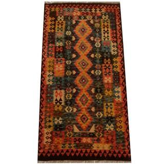Herat Oriental Afghan Hand-woven Vegetable Dye Wool Kilim (3'3 x 6'8)