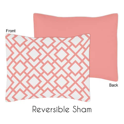 Standard Pillow Sham for the White and Coral Mod Diamond Collection by Sweet Jojo Designs