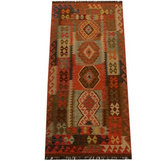 Herat Oriental Afghan Hand-woven Vegetable Dye Wool Kilim (3'2 x 6'7)