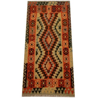 Herat Oriental Afghan Hand-woven Vegetable Dye Wool Kilim (3'2 x 6'5)