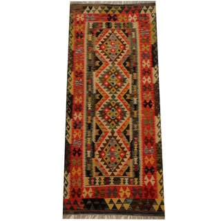 Herat Oriental Afghan Hand-woven Vegetable Dye Wool Kilim Runner (2'9 x 6'3)