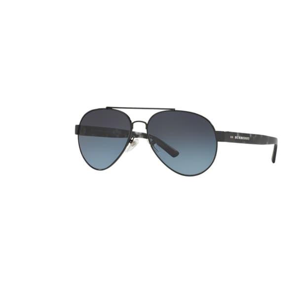 38486f0d34d5 Burberry Men  x27 s BE3086 1001K4 Black Metal Pilot Sunglasses w  ...