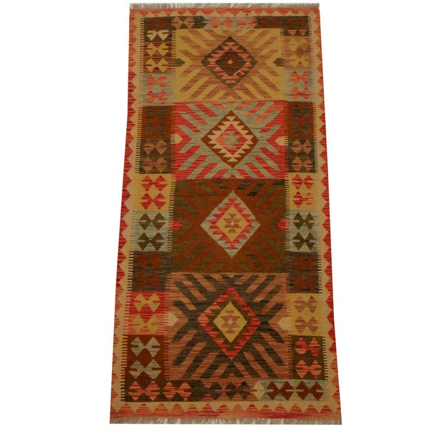 Herat Oriental Afghan Hand-woven Vegetable Dye Wool Kilim (3'1 x 6'5)
