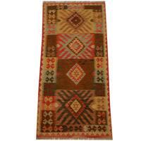 Handmade Herat Oriental Afghan Vegetable Dye Wool Kilim (Afghanistan) - 3'1 x 6'5