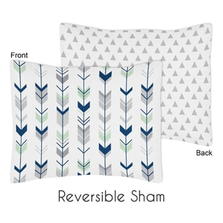 Standard Pillow Sham for the Grey and Mint Mod Arrow Collection by Sweet Jojo Designs
