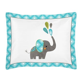 Standard Pillow Sham for the Mod Elephant Collection by Sweet Jojo Designs