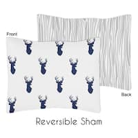 Standard Pillow Sham for the Navy and White Woodland Deer Collection by Sweet Jojo Designs
