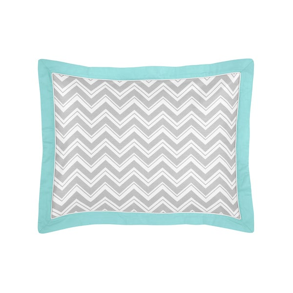 Gray and Turquoise Blue Zig Zag Collection Standard Pillow Sham by Sweet Jojo Designs