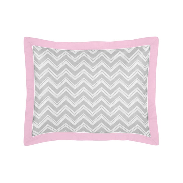 Gray and Pink Zig Zag Collection Standard Pillow Sham by Sweet Jojo Designs