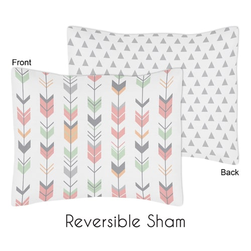 Standard Pillow Sham for the Coral and Mint Mod Arrow Collection by Sweet Jojo Designs