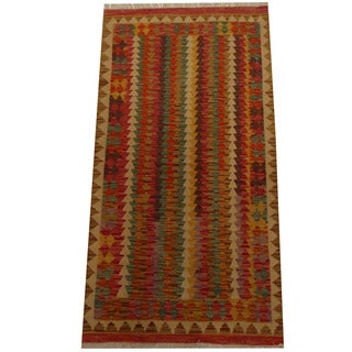 Herat Oriental Afghan Hand-woven Vegetable Dye Wool Kilim (3'1 x 6')