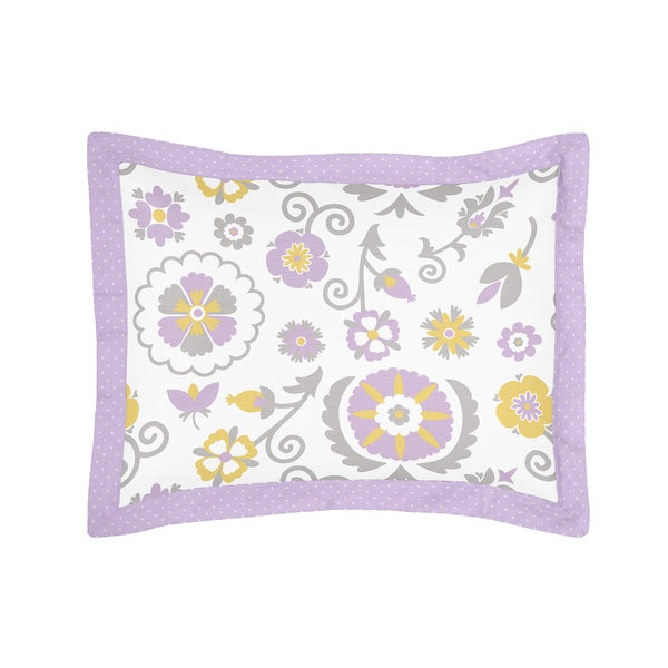Lavender and White Suzanna Collection Standard Pillow Sham by Sweet Jojo Designs