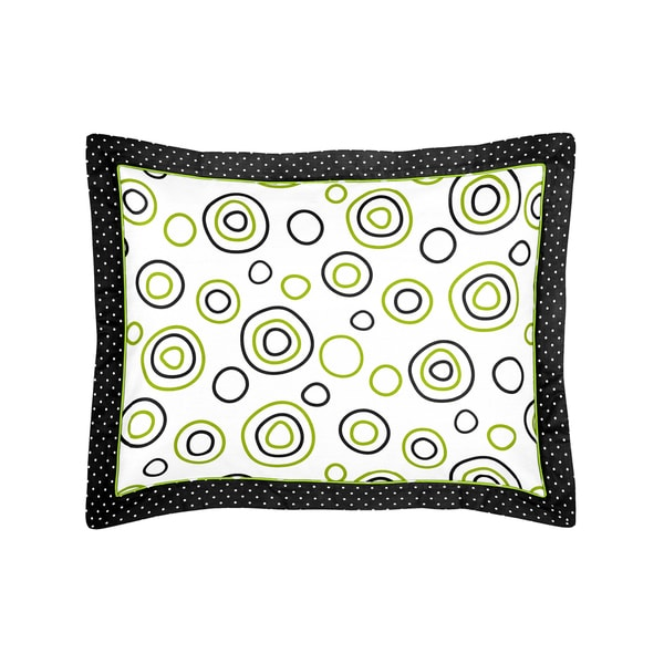 Lime Green and Black Spirodot Collection Standard Pillow Sham by Sweet Jojo Designs