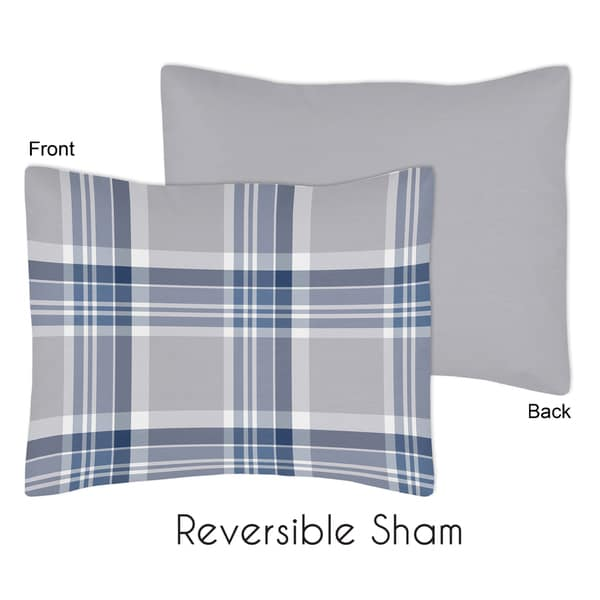 Navy Blue and Gray Plaid Collection Standard Pillow Sham by Sweet Jojo Designs