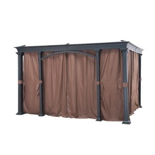 Sunjoy Brown Universal Privacy Curtain for 12-foot x 10-foot Gazebo