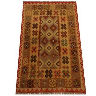 Herat Oriental Afghan Hand-woven Vegetable Dye Wool Kilim (4'2 x 6'5)
