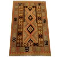 Herat Oriental Afghan Hand-woven Vegetable Dye Wool Kilim - 4'3 x 6'9