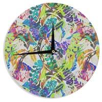 KESS InHouseGabriela Fuente 'Flow' Rainbow Floral Wall Clock