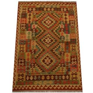 Herat Oriental Afghan Hand-woven Vegetable Dye Wool Kilim (4' x 5'9)