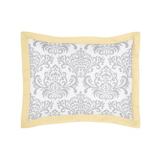 Yellow and Gray Avery Collection Standard Pillow Sham by Sweet Jojo Designs