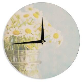 KESS InHouse Laura Evans 'O Daisy' Green Yellow Wall Clock
