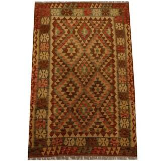 Herat Oriental Afghan Hand-woven Vegetable Dye Wool Kilim (4'2 x 6'6)