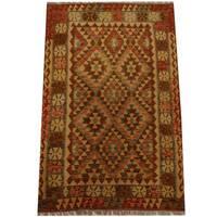 Herat Oriental Afghan Hand-woven Vegetable Dye Wool Kilim - 4'2 x 6'6
