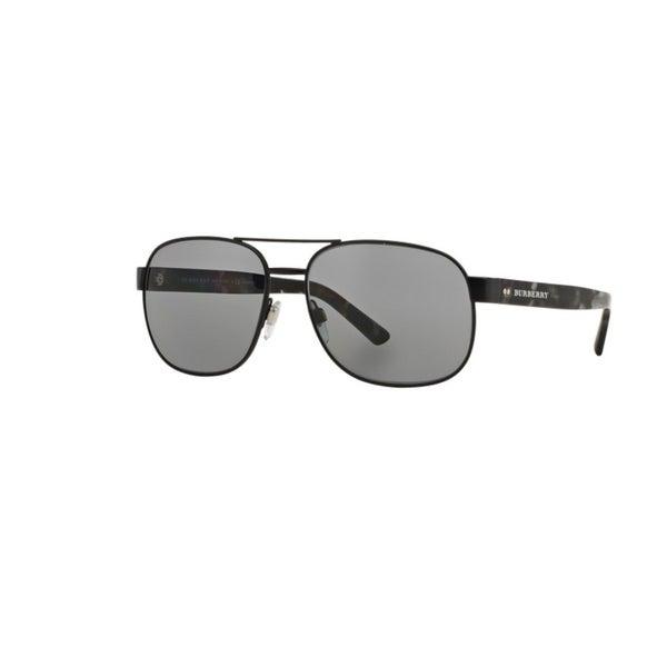 48db5a64f900 Burberry Men  x27 s BE3083 1007T8 Matte Black Metal Rectangle Sunglasses w   59mm