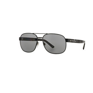 Burberry Men's BE3083 1007T8 Matte Black Metal Rectangle Sunglasses w/ 59mm Lens