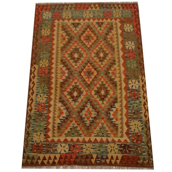 Herat Oriental Afghan Hand-woven Vegetable Dye Wool Kilim - 4'5 x 6'6