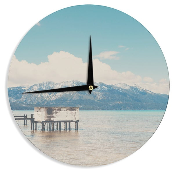 KESS InHouse Laura Evans Down By The Lake Blue Brown Wall Clock