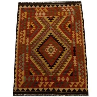 Herat Oriental Afghan Hand-woven Vegetable Dye Wool Kilim (4' x 5'5)