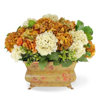 Jane Seymour Botanicals Hydrangeas In Gold Cream 24-inch Wide Vintage-style Deco Planter