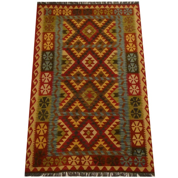Herat Oriental Afghan Hand-woven Vegetable Dye Wool Kilim (4'3 x 6'7) - 4'3 x 6'7