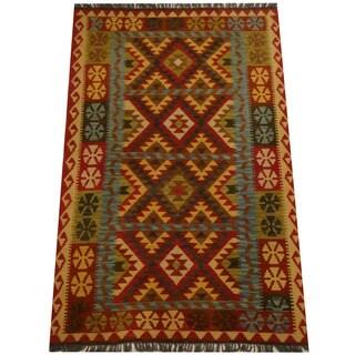 Herat Oriental Afghan Hand-woven Vegetable Dye Wool Kilim (4'3 x 6'7)
