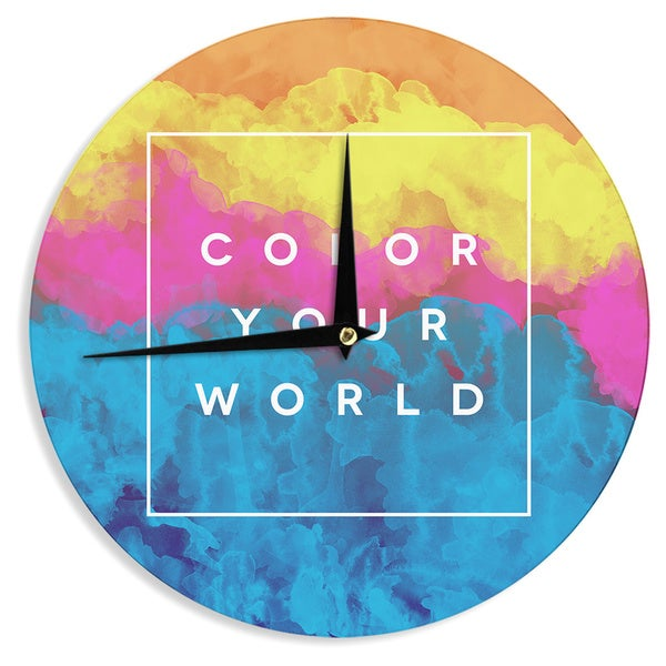 "Kess InHouse Galaxy Eyes ""Color Your World"" Rainbow Paint Wall Clock 12"""