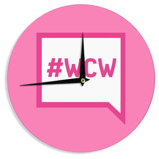 KESS InHouse KESS Original 'Women Crush Wednesday' Pink White Wall Clock