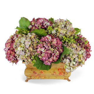 Jane Seymour Botanicals Burgundy and Purple Hydrangeas in 20-inch-wide Vintage-style Deco Planter