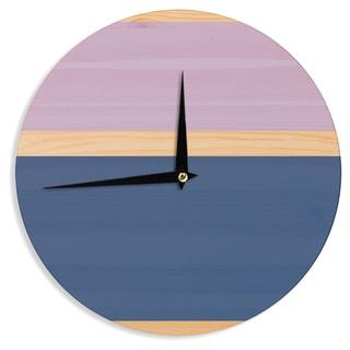 KESS InHouse KESS Original 'Spring Swatch - Blue Lavender' Purple Wood Wall Clock