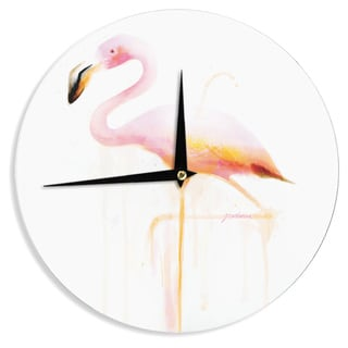 KESS InHouseGeordanna Cordero-Fields 'My Flamingo' Pink White Wall Clock
