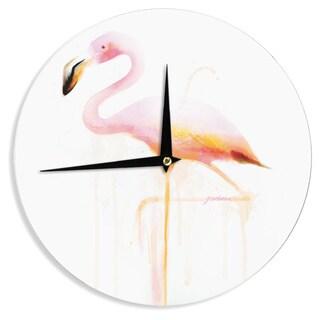 KESS InHouseGeordanna Cordero-Fields 'My Flamingo' Pink White Wall Clock