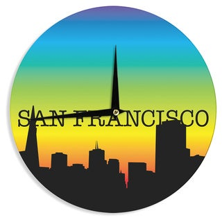 KESS InHouse KESS Original 'San Francisco' Rainbow Black Wall Clock