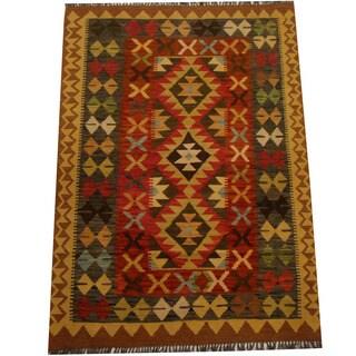 Herat Oriental Afghan Hand-woven Vegetable Dye Wool Kilim (4'1 x 5'9)